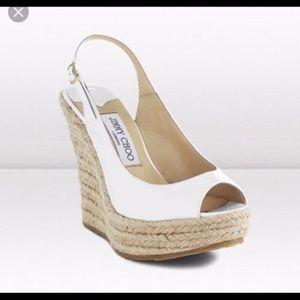 afa6cb8cf62 Jimmy Choo Shoes - Jimmy Choo Polar Patent White Espadrille Wedges